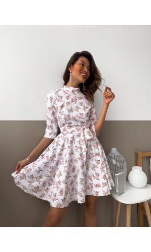 Платье летнее с поясом в мелкий цветок
