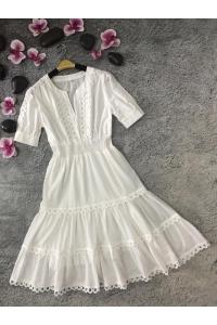 Платье миди летнее с короткими рукавами