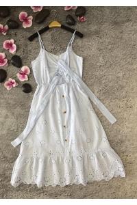 Платье миди летнее пуговицы и лента