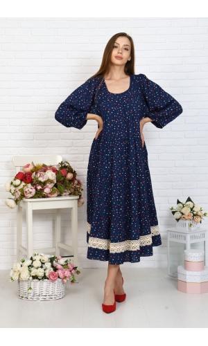 Платье ярусное с кружевом