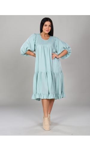 Платье короткое однотонное - мята