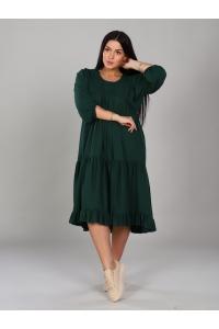 Платье короткое однотонное зеленое