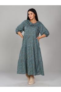Платье с капюшоном с цветочным принтом и длинный рукав