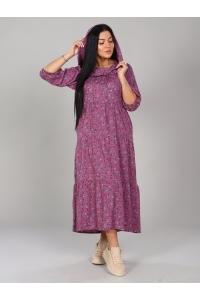 Платье с капюшоном с цветочным принтом длина макси и длинный рукав