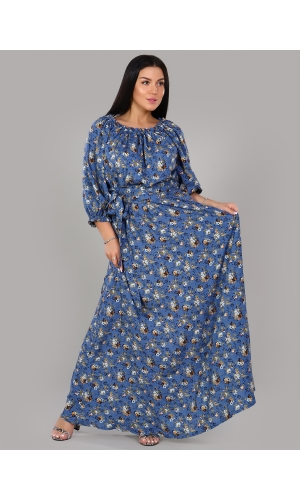 Платье в пол длина макси цвет синий рисунок цветок крупный