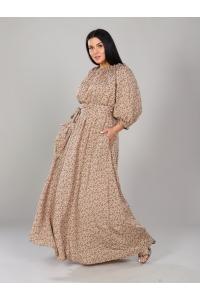 Платье в пол длина макси цвет бежевый рисунок мелкий цветок
