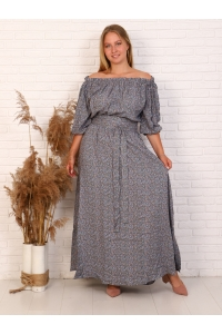 Платье в пол длина макси цвет серый рисунок мелкий цветок