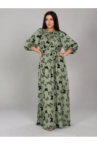 Платье в пол длина макси цвет зеленый рисунок бабочки