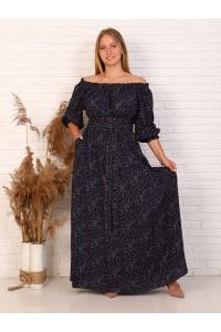 Платье в пол длина макси цвет тёмно-синий