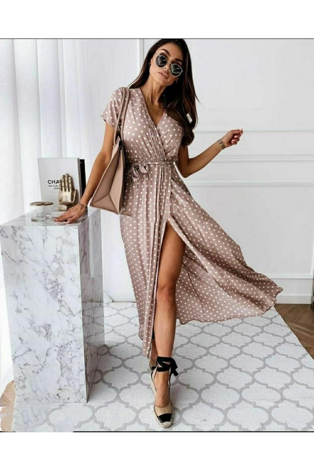 Платье на запах горох