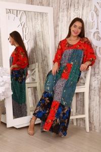 Платье из лоскутов красные цветы