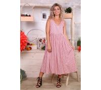Сарафан летний платье цвет розовый рисунок горох ткань штапель