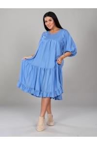 Платье однотонное голубое короткое