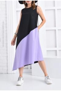 Двух цветное платье с асимметрией