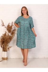 Платье миди из штапеля, принт цветочный