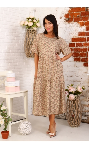 Платье из штапеля повседневное с коротким рукавом