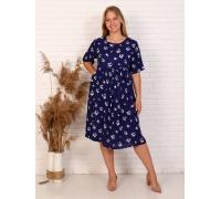 Платье миди, цвет синий, принт бабочки