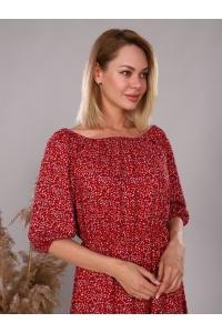 Платье из штапеля красное