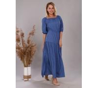 Платье из штапеля синий горох