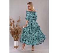 Платье из штапеля мятные сердечки