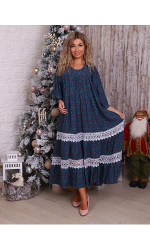 Платье из штапеля с кружевом