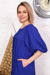 Платье однотонное с защипами синее