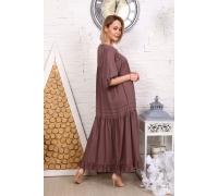 Платье однотонное с защипами коричневое