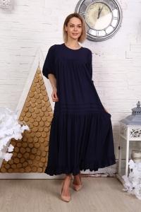 Платье однотонное с защипами темно-синее