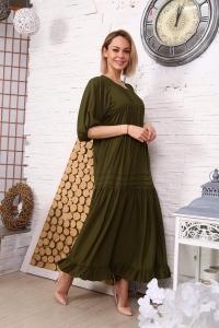 Платье однотонное с защипами зеленое