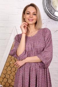 Платье макси с кружевом принт мелкий цветок розовое