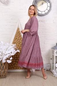 Платье с кружевом мелкий цветок розовое