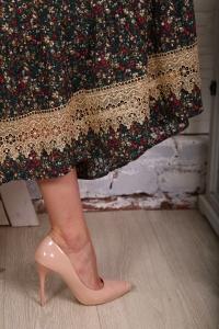 Платье с кружевом мелкий цветок зеленое