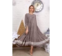 Платье с кружевом мелкий цветок серое