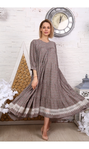 Платье макси с кружевом принт мелкий цветок серое