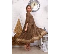 Платье с кружевом мелкий цветок коричневое