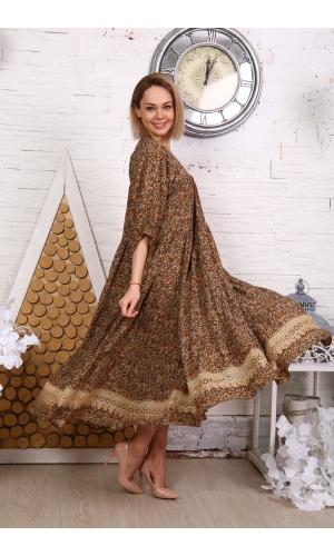Платье макси с кружевом принт мелкий цветок коричневое