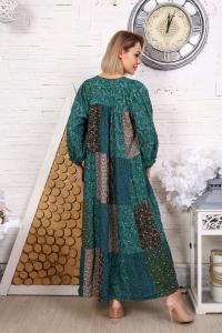 Платье из лоскутов бирюзовое мелкий цветок