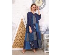 Платье из лоскутов темно-синее