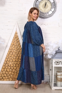 Платье из лоскутов синее