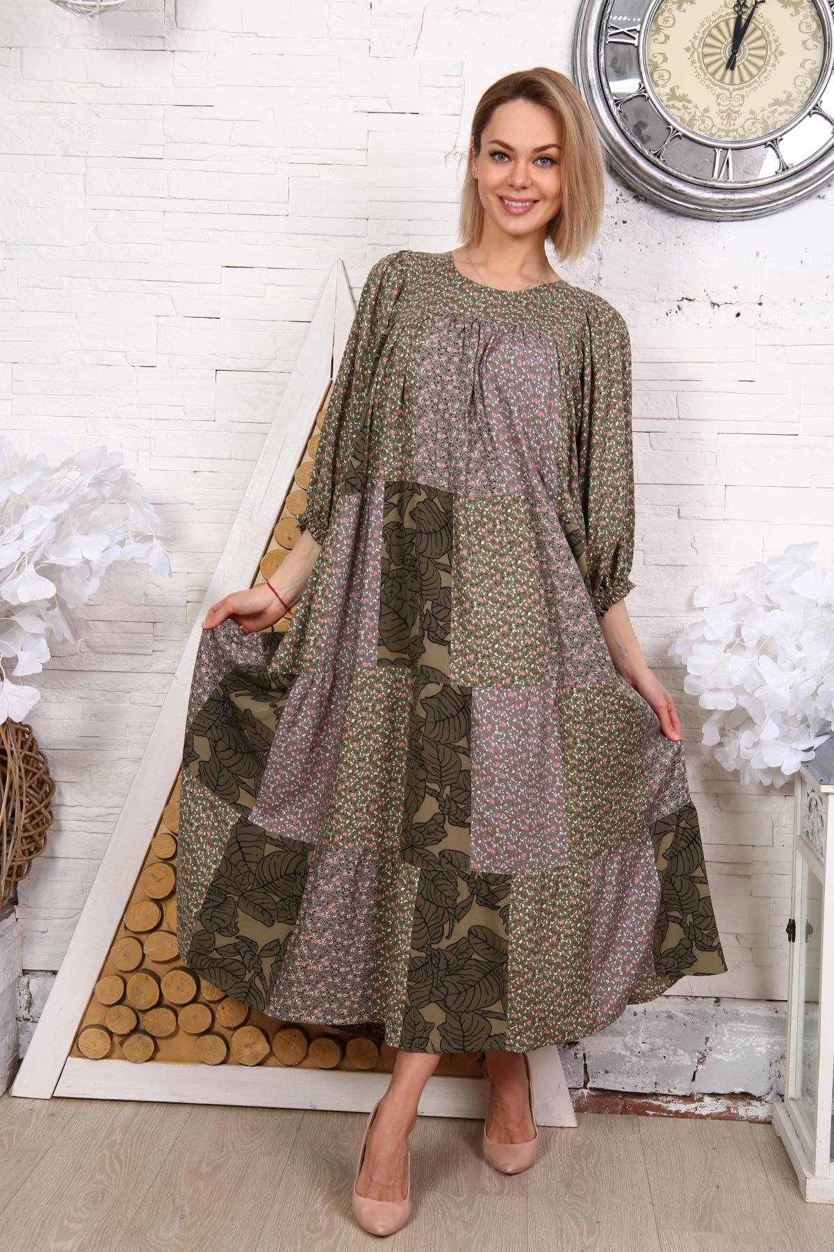 Платье из лоскутов серо-зеленое