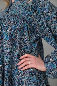 Платье из штапеля на пуговицах с длинным рукавом - синие огурцы