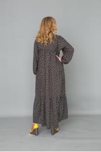 Платье из штапеля на пуговицах с длинным рукавом - темно синее в мелкий цветок