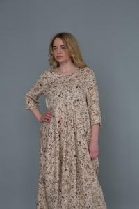 Платье из штапеля премиум - светлый белый/голубой/коричневый цветок