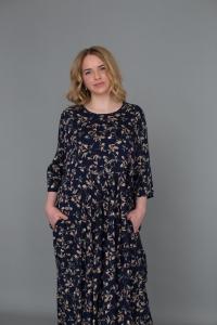 Платье из штапеля премиум - темно синий бежевые листья