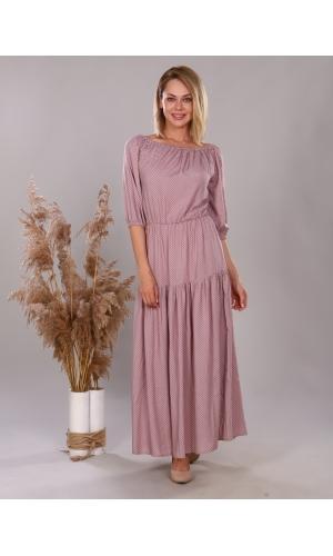 Платье из штапеля бежевый горох