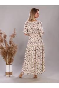 Платье из штапеля премиум - белый цветок на черном фоне