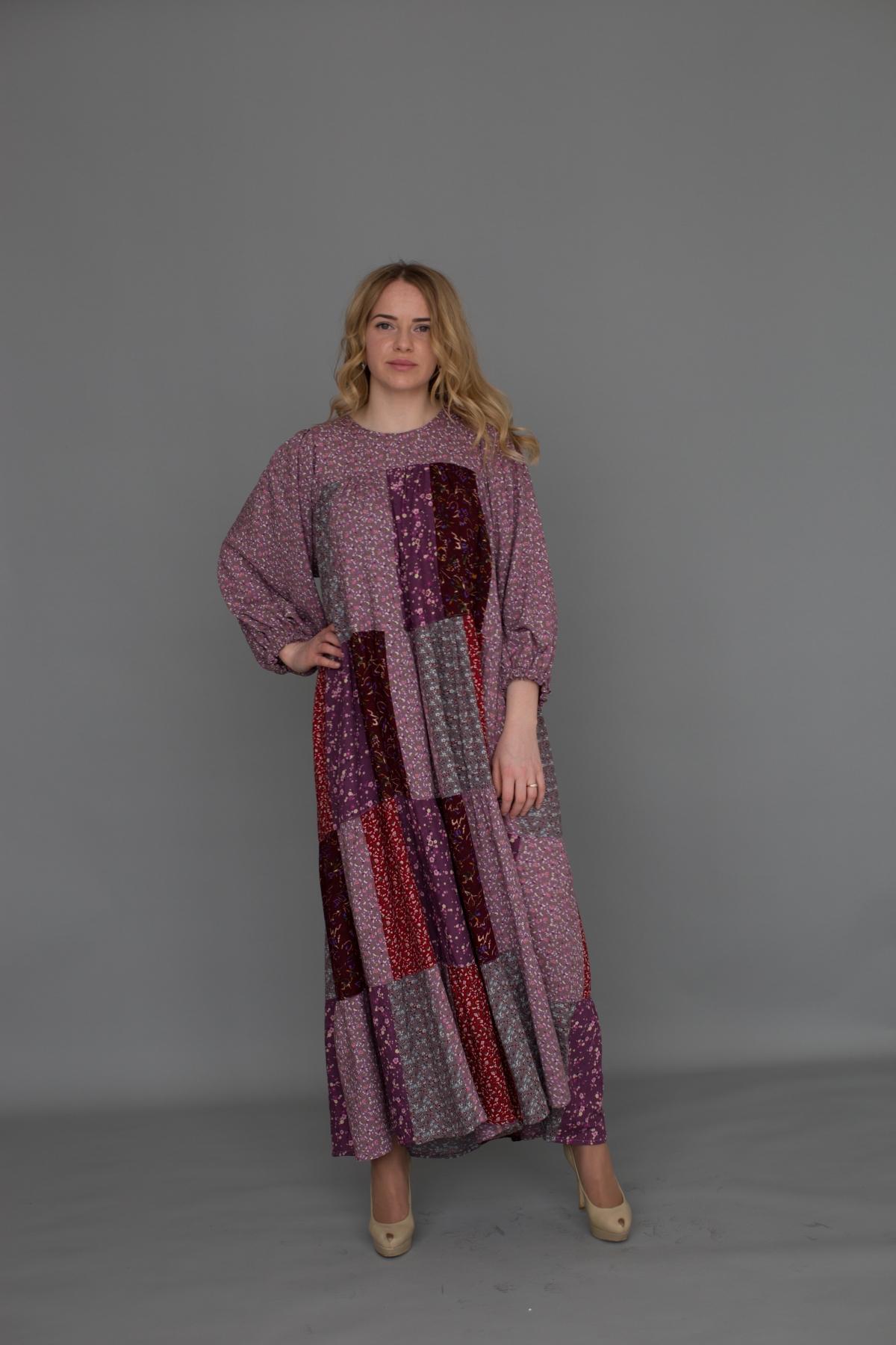 Платье из лоскутов розовое мелкий цветок