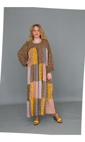 Платье из лоскутов желтое