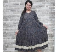 Платье с кружевом мелкий орнамент серое
