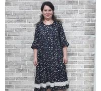Платье с кружевом темный цветок